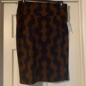 LulaRoe Cassie orange/navy skirt.